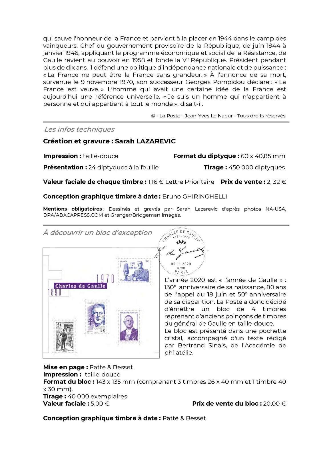 programme philatélique 2020   Charles de Gaulle