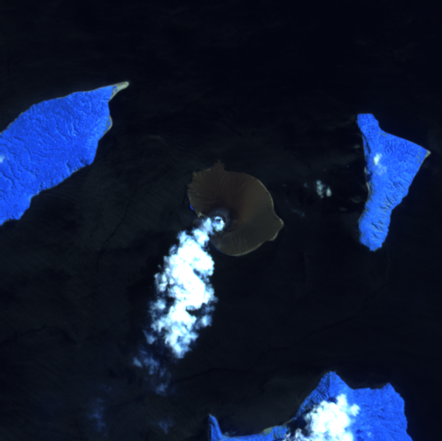 Anak Krakatau - image Sentinel-2 bands 12,11,8A from 04.22.2021 - Mounts project