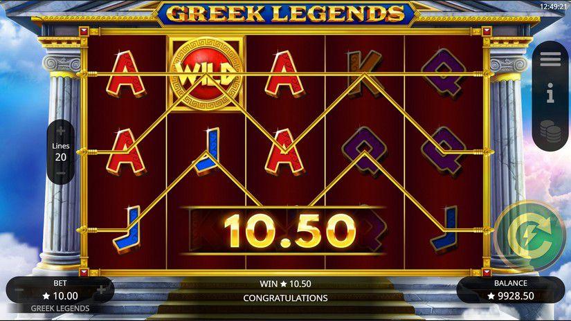 machine à sous en ligne Greek Legends grille de jeu