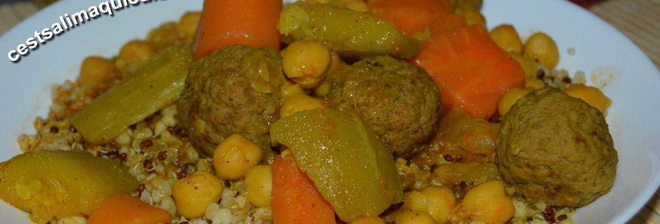 Couscous express quinoa, boulgour et  boulettes de viande hachée            Recette autour d'un ingrédient # 73 : Le quinoa