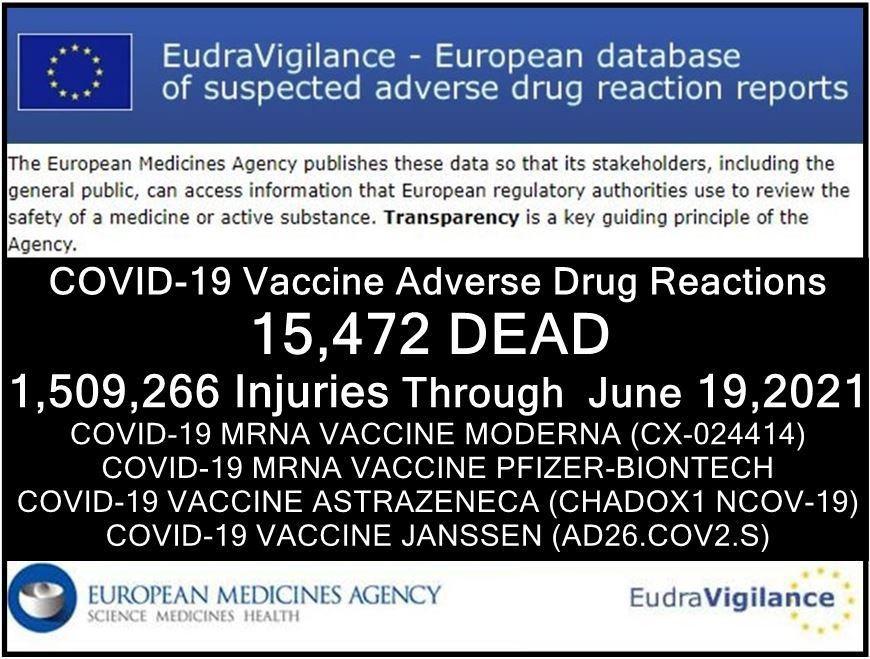 Unión Europea: nuestras muertes y nuestros discapacitados por inyecciones anti-Covid al 19 de junio de 2021