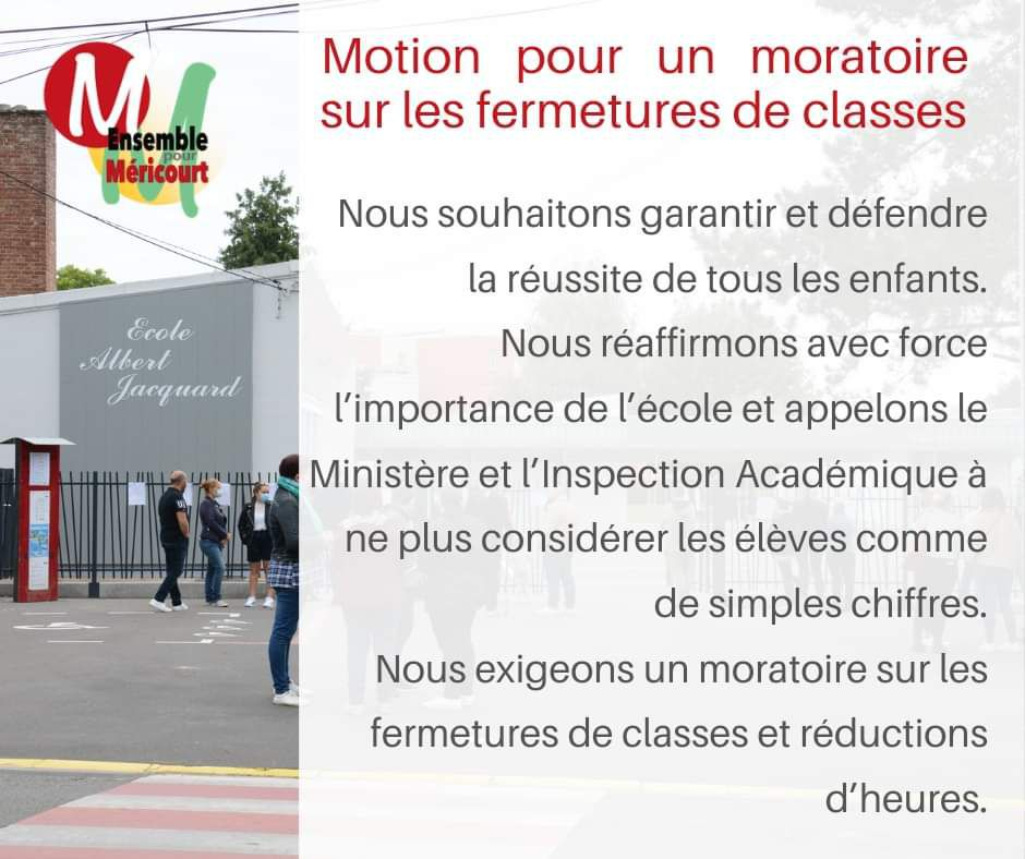 Conseil municipal de Méricourt : motion contre les fermetures de classes et les réductions d'heures
