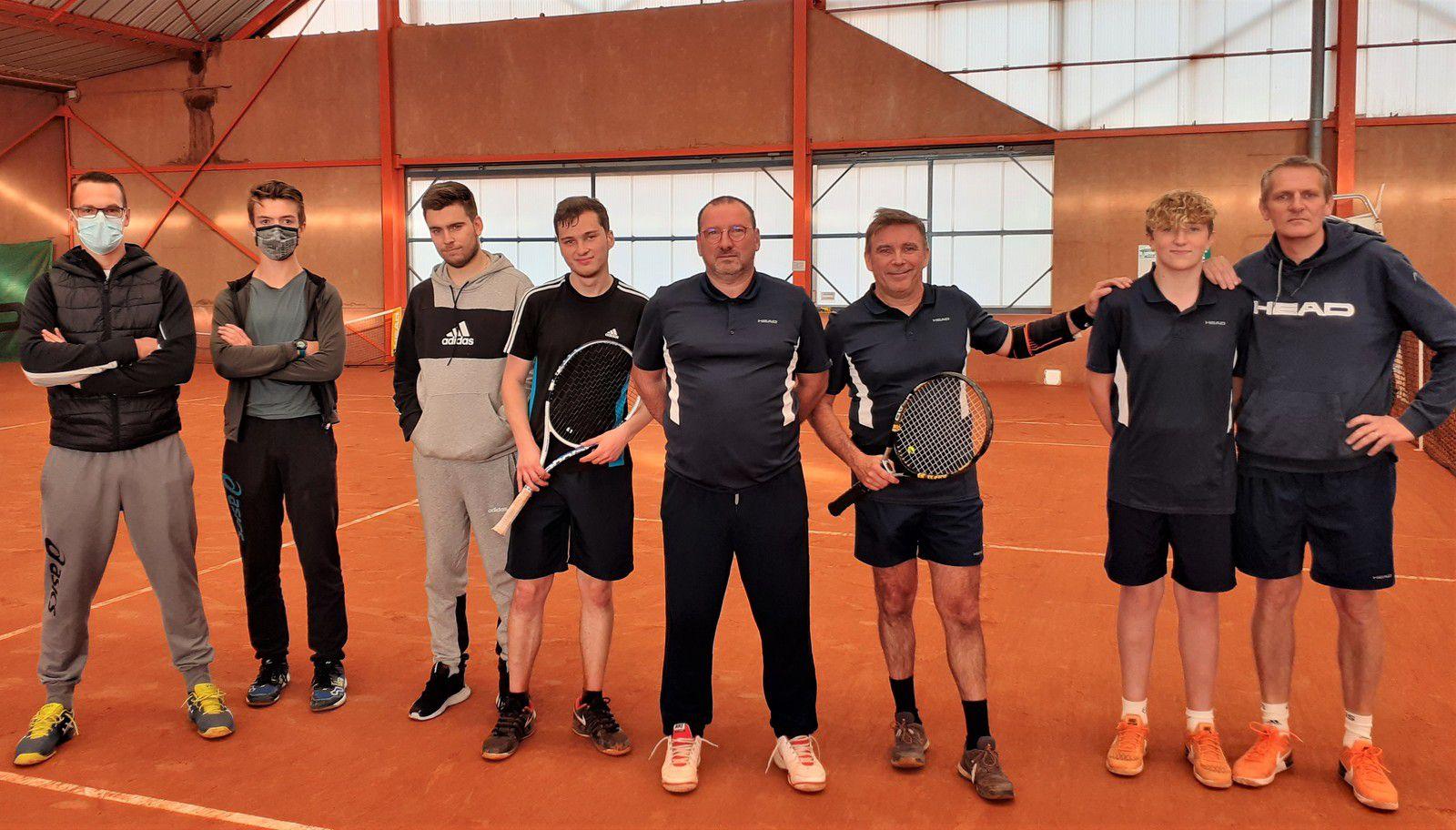 L'équipe d'Orbec, Olivier Vincent, Marc Lengre, Augustin et Bernard Caillet