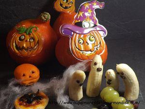 Petites pizza araignées d'Halloween, doigts de sorciére ensanglantés,fantomes bananes et chenilles qui font peur!