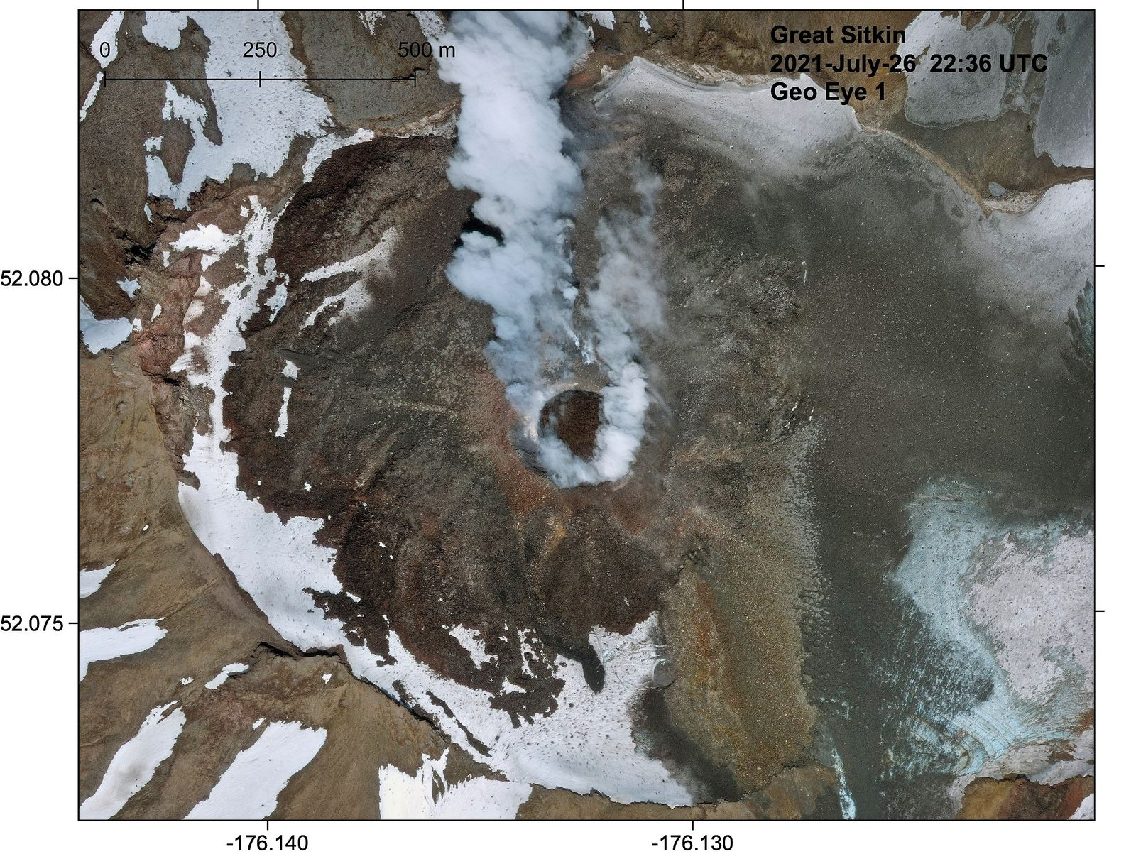 Great Sitkin - the crater with his dome and the steam plume 07.26.2021 / 10:36 PM UTC - Doc. AVO - DigitalGlobe via NextView license / Matt Loewen