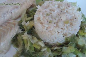 Cabillaud, poireaux et laitue de mer