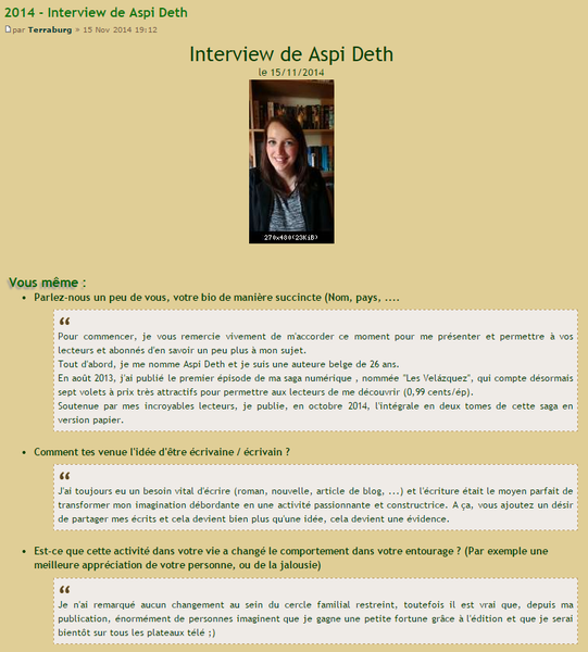 Interview pour le site Terraburg (11/2014)