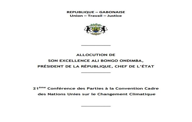 COP21 : Discours du Président Ali Bongo Ondimba