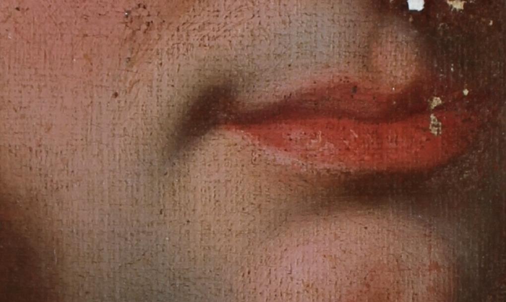 Hyacinthe Rigaud, portrait de Jean-Baptiste Colbert de Croissy, 1697. Collection particulière [détails du début de la restauration sur le visage et sur la cravate, réapparition des couleurs d'origine,...] © photos Patrick Butti