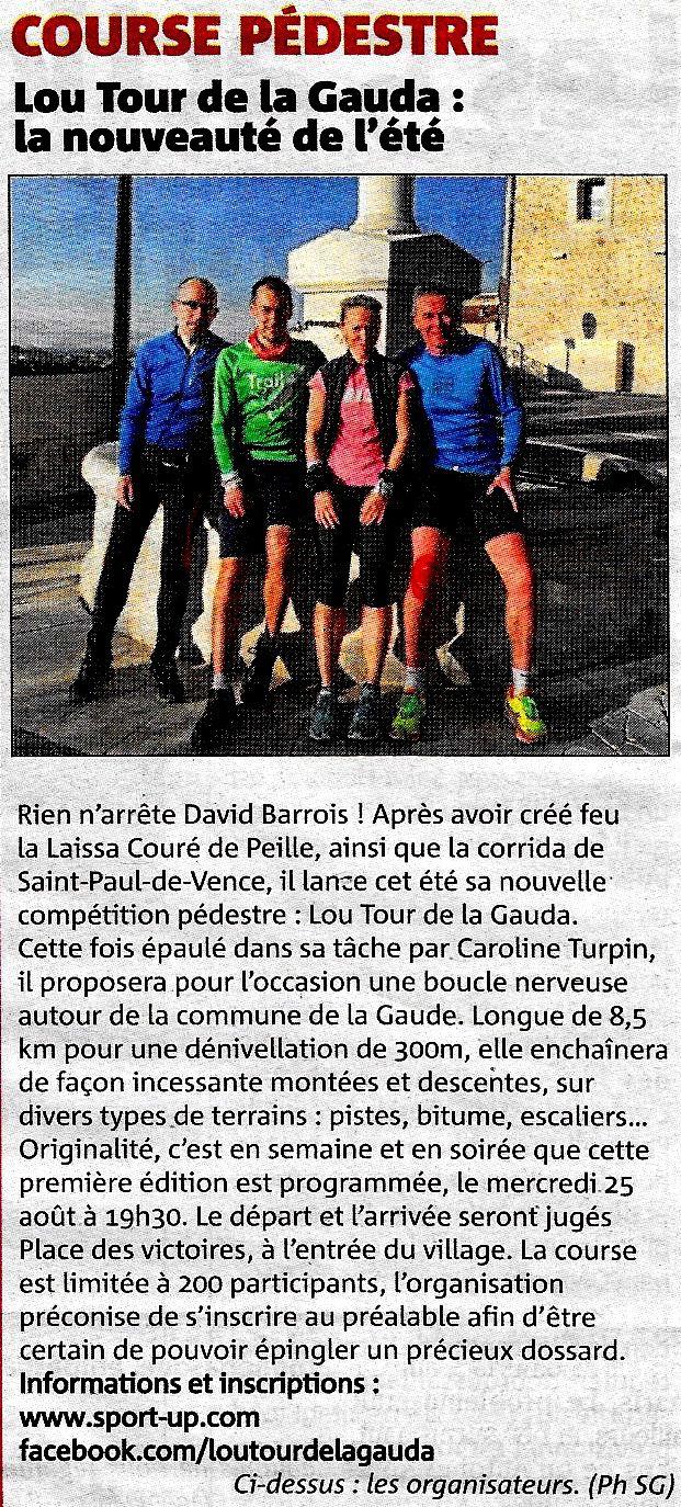 LOU TOUR DE LA GAUDA.  NICE-MATIN  8.8.2021
