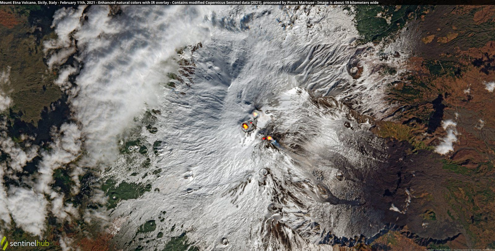 Etna - Sentinel-2 image enhanced nat. colors + IR overlay 02.11.2021 - by Pierre Markuse / Copernicus data - one click to enlarge