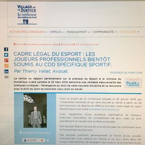 Statut des joueurs professionnels de Esport: notre article publié dans le Village de la Justice