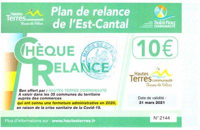 Hautes Terres et le chèque relance de 10 €