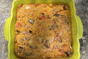 Gâteau de semoule aux douces épices et ratatouille 3 💚et 2💙💜
