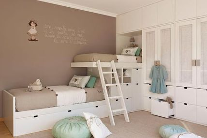 white beds and taupe