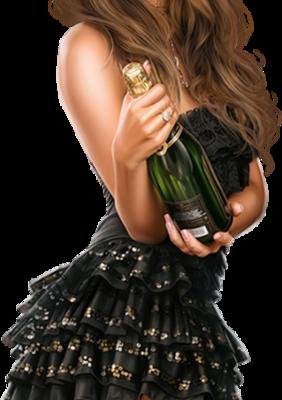 Bonne Année 2019 - Femme - Brune - Sexy - Champagne - Render-Tube - Gratuit