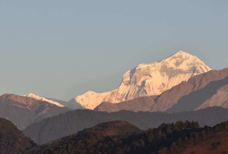 Sarangkot, lune géante, lever de soleil sur le Dhaulagiri 1