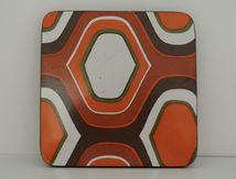 Dessous de plat formica orange et marron Années 70 - Vintage