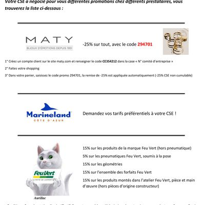 Promotions prestataire