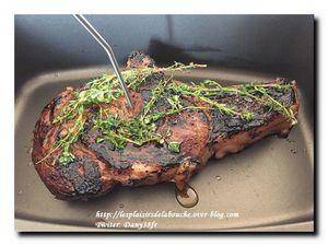 Côte de bœuf cuite au four marinée au thym miel et citron