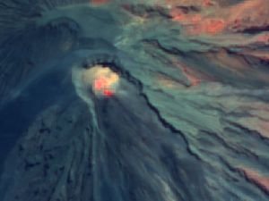 Semeru - photo from Citra satellite on 07.29.2020 showing hot spots - Doc. Magma Indonesia - one click to enlarge Semeru