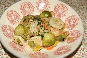 Blanquette de boudin blanc  aux légumes