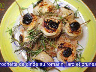 Brochette de dinde au romarin, lard et pruneaux par Chef Damien