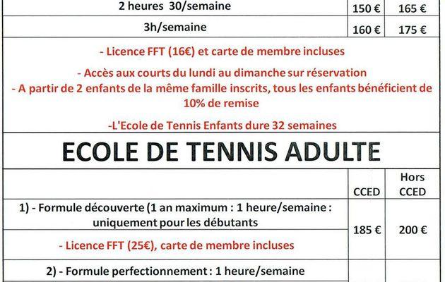Tarifs école de Tennis