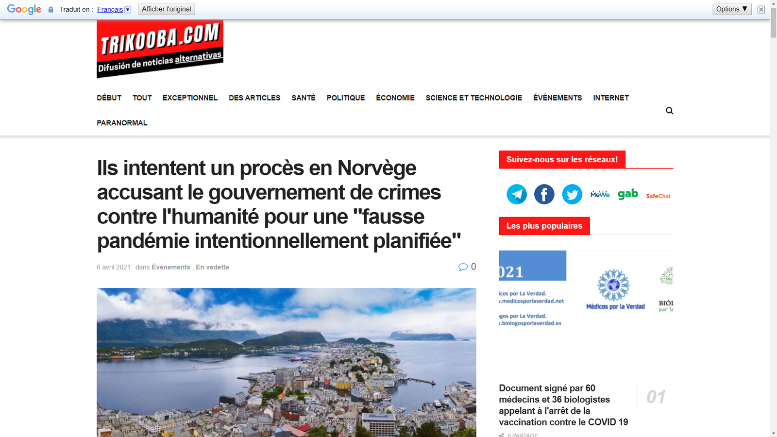 """Un groupe de chercheurs norvégiens a déposé une plainte contre la politique COVID du gouvernement, poursuivi pour """"crimes contre l'humanité"""""""