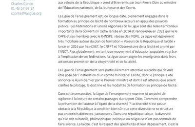 Rapport Obin : réaction de la Ligue de l'enseignement