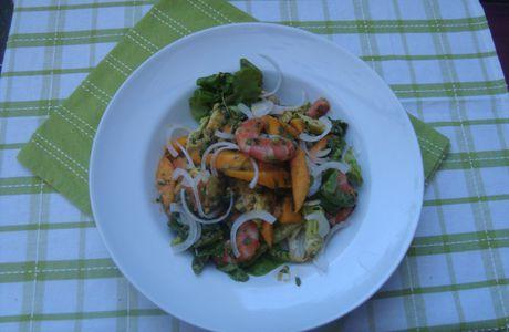 Salade de crevettes avocat mangue sauce prodigieuse*