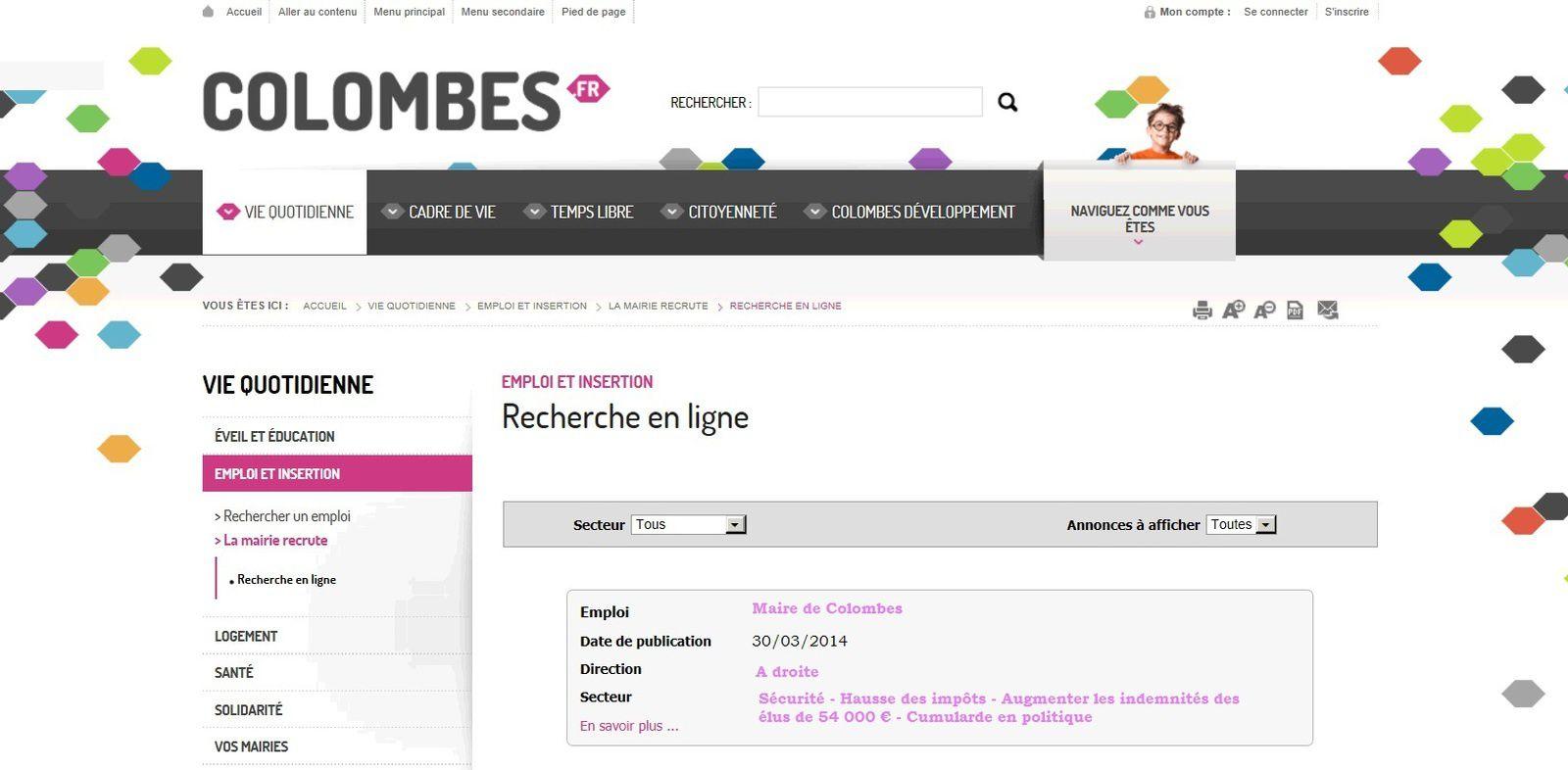 COLOMBES : RECHERCHE MAIRE DESESPEREMMENT DEPUIS LE 30 MARS 2014 !