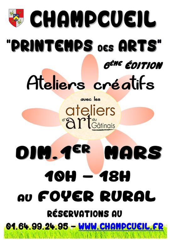 À l'occasion de la 6e édition du Printemps des Arts le dimanche 1er mars 2020, la ville de Champcueil et les ateliers d'art du Gâtinais vous proposent des ateliers créatifs (mosaïque, bijoux, vitrail, sculpture, gravure...) de 10h à 18h. J' animerai un atelier collage artistique de 10h à 18h sur plateau ou vase (peinture et collage). Le matériel et le support sont fournis. Vous pouvez consulter le programme complet et vous inscrire dès maintenant. Merci et à bientôt.