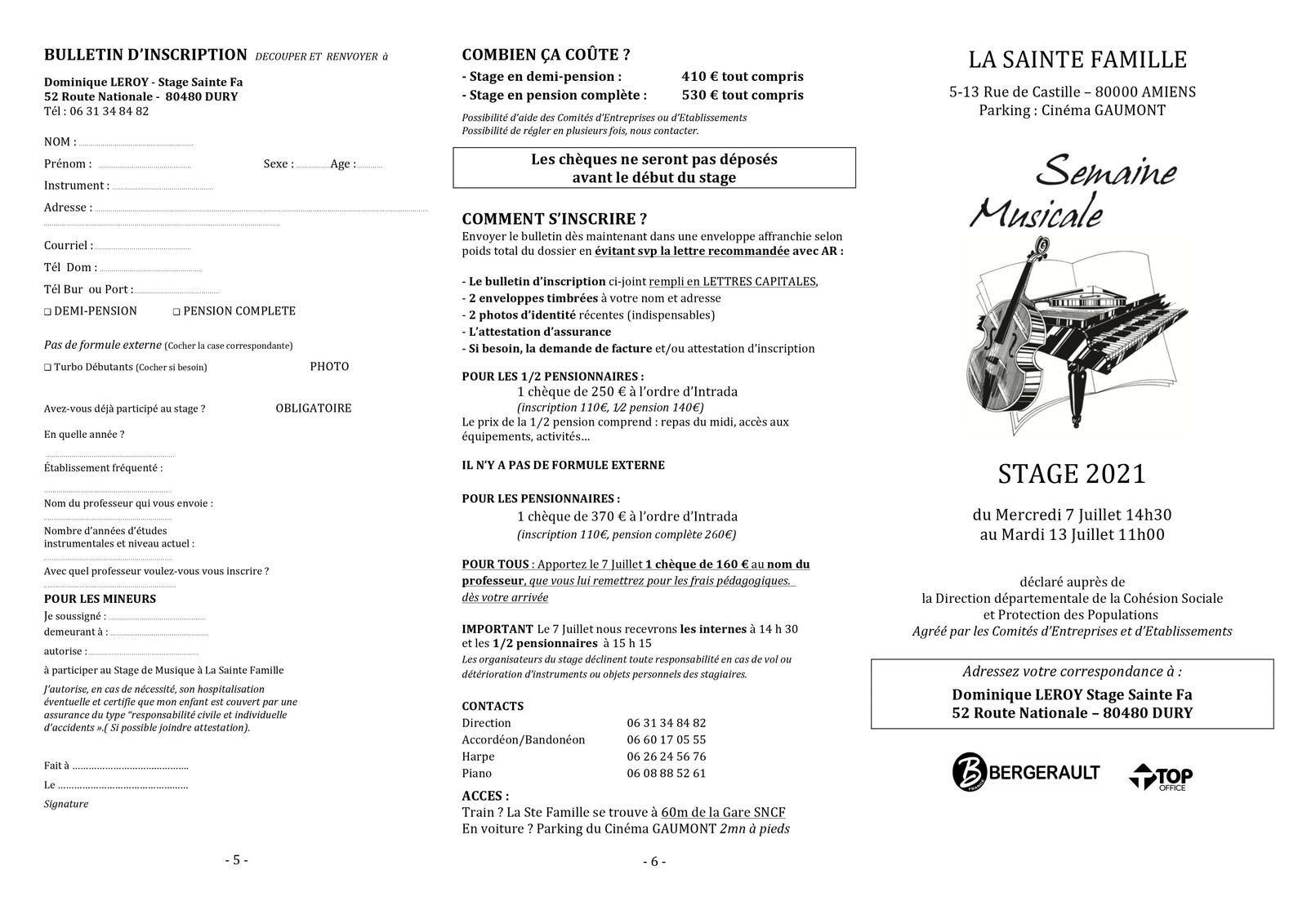 Une semaine musicale Stage 2021 à Amiens