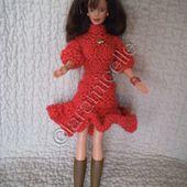 tuto gratuit barbie: robe d'hiver à col cheminée et manches longues - Chez Laramicelle