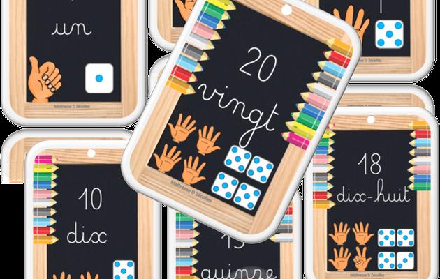 Affichage : Frise numérique de 1 à 20 avec écriture en lettres cursives