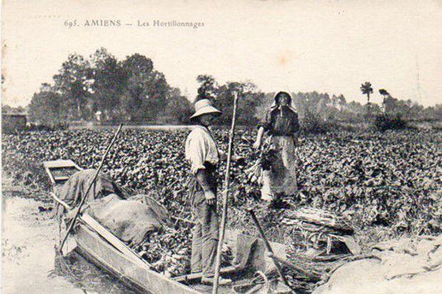 Hortillon dans sa Barque. Hortillonne sur l'aire. Le Petit Journal agricole. 1er Sept. 1912. N° 870.
