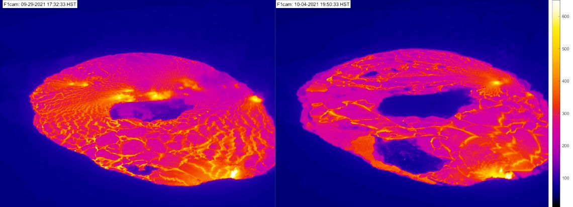 Kilauea / Halema'uma'u - Bird's eye view of the eruption of the lava lake Halema'uma'u, September 29 and October 4, 2021 from the F1 thermal camera located on the western edge of the crater at the top of Kīlauea. - vertical trip of the lava islands - Doc. USGS - HVO