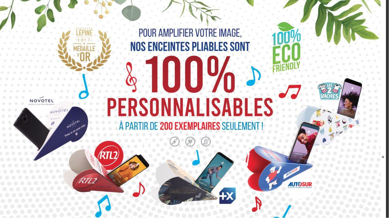 Enceinte pour smartphone en carton recyclable fabrication Française