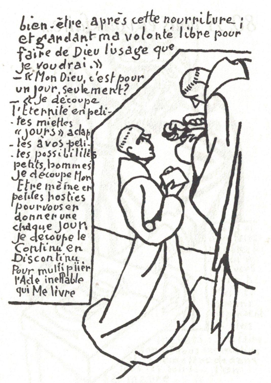 """"""" Communion"""", Gouache de mère Geneviève ( H. Maertens ); dessins 78, 79 et 80 de """" La Vie du petit Saint Placide"""" ( éditions Desclée de Brouwer; 1963.)"""