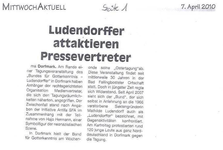 """Proteste gegen den """"Deutschen Bund für Gotterkenntnis (Ludendorffer e.V) in Dorfmark am 2.4.2010. Fotos:(DGB Kulturarbeitskreis, monitorex) siehe Einzelfotos"""