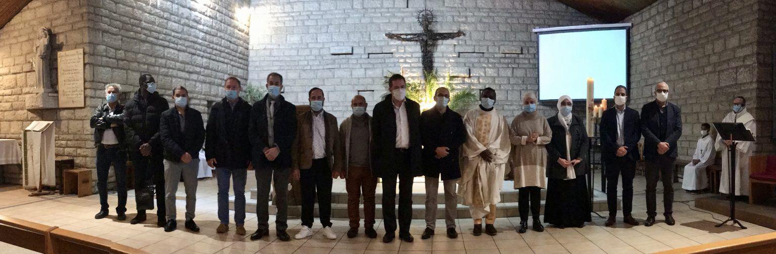 A Sainte-Marie-Madeleine de Massy, la délégation du Conseil des Musulmans de Massy, et le maire de la ville