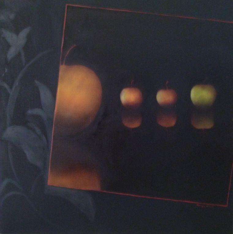 """1 - """"Les Pommes, Noir"""" - 2 - """"Les Pommes chez Malevitch"""" - 3 -""""Pommes en Suspens, le Jeu de Pommes"""" - 4 -""""Pommes en Suspens, la Discrète"""" - 5 - """"Pommes en Suspens, Rouge"""" - 6 """"Pommes en Suspens, Grandes Arabesques 3"""" - 7 - """"Pommes en Suspens, le Jardin des Hespérides"""" - 8 - """"Les Pommes chez Vermeer"""" - 9 - Les Pommes chez Van Hoogstraten"""""""