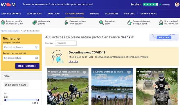 Captures d'écran du site internet de Woom - tous droits réservés