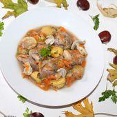 Recette Plat combiné : blanquette de sot-l'y-laisse aux légumes et marrons / pommes au Carambar® - Magazine Omnicuiseur