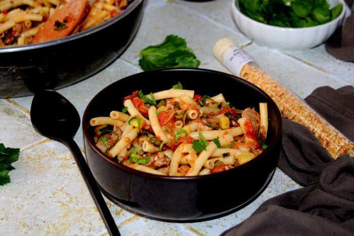 plat-complet-macaronis-légumes-veau