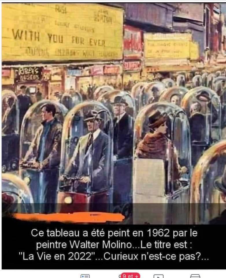 """Peinture de Walter Molino de 1962 imaginant type de voiture individuelle pour éviter les embouteillages !? ... Repris par certains comme """"la vie en 2022"""" !"""