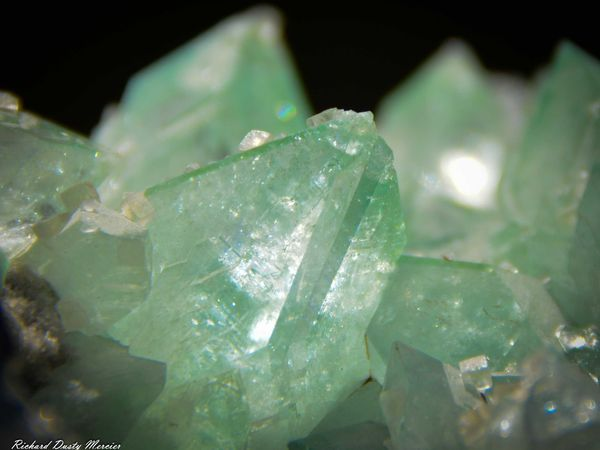 Pointed green Apophyllite with Calcite from Sawda Mine, Jalgaon, India (size: Cabinet)
