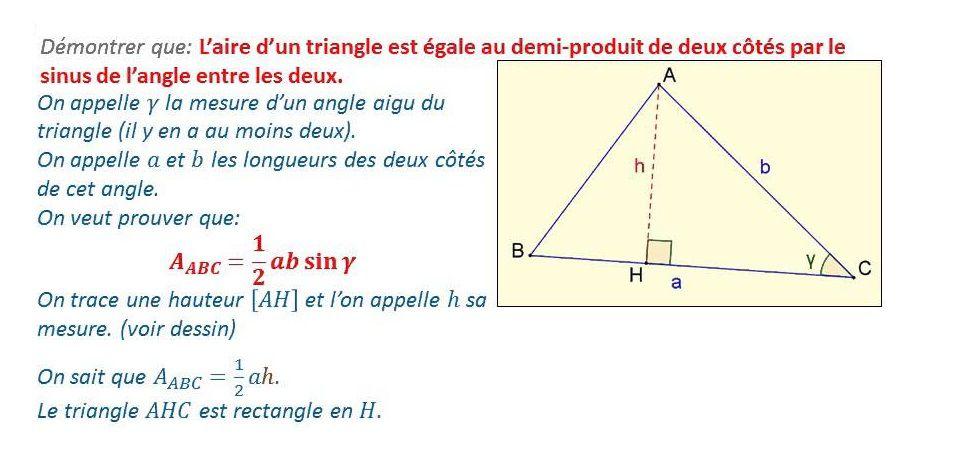 TROISIEME - Aire d'un triangle en utilisant le sinus