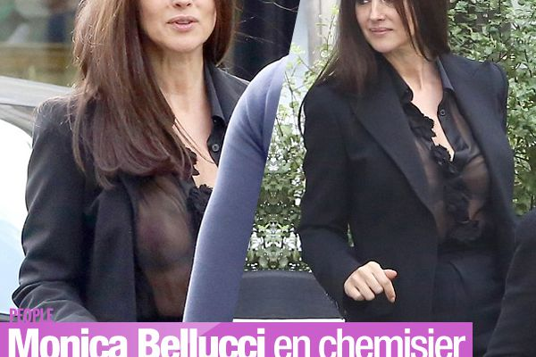 Monica Bellucci en chemisier transparent dans Paris ! #sexy